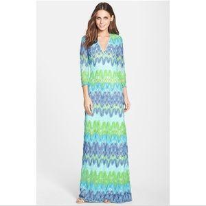 Lilly Pulitzer Green Chevron Lamora Maxi Dress Med